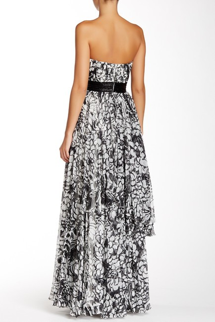 Carmen Marc Valvo Style 10225 Attached Beaded Belt Tiered Chiffon Skirt Strapless Pleated Printed Gown Dress