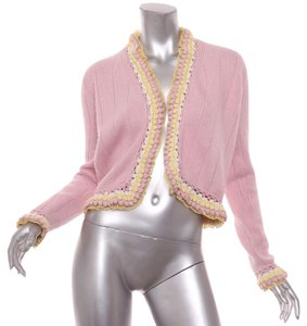 Chanel 04c Cashmere Cashmere Yellow Cardigan Pink Jacket