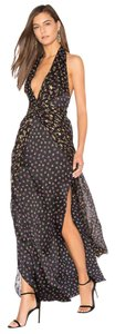 Black with gold detail Maxi Dress by Diane von Furstenberg Maxi V-neck Open