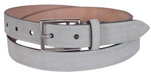 Gucci New Gucci Men's 368193 Opal Grey Suede Silver Buckle Belt 38 95