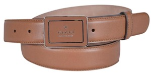 Gucci New Gucci Men's 295337 Smooth Tan Leather Trademark Logo Belt 36 90