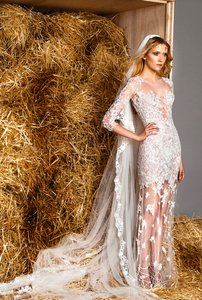 Zuhair Murad White Tulle and Molly Destination Wedding Dress Size 10 (M)