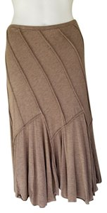 Max Studio Pull-on Paneled Elastic Waist Skirt Light Brown