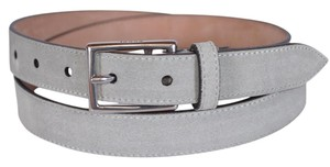 Gucci New Gucci Men's 368193 Opal Grey Suede Silver Buckle Belt 44 110