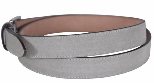 Gucci New Gucci Men's 368193 Opal Grey Suede Silver Buckle Belt 44 110 Image 1