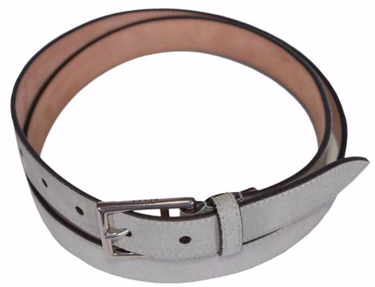 Gucci New Gucci Men's 368193 Opal Grey Suede Silver Buckle Belt 44 110 Image 2