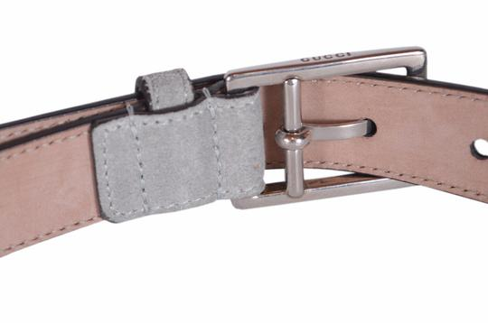 Gucci New Gucci Men's 368193 Opal Grey Suede Silver Buckle Belt 44 110 Image 3