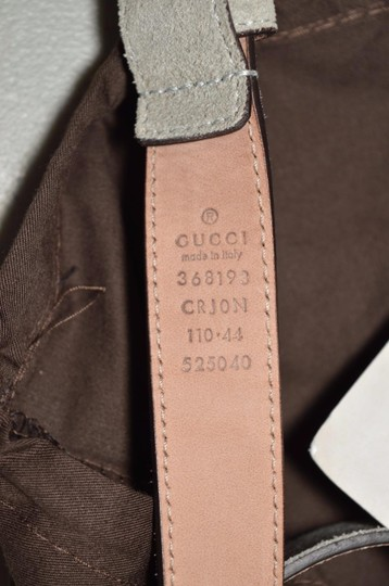Gucci New Gucci Men's 368193 Opal Grey Suede Silver Buckle Belt 44 110 Image 5