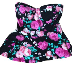 Charlotte Russe Peplum Strapless Floral Top Multi