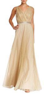 Pamella Roland Style Cs15-p7122-07a Attached Beaded Belt Shimmery Tulle Skirt Deep V-neckline Empire Waist Dress