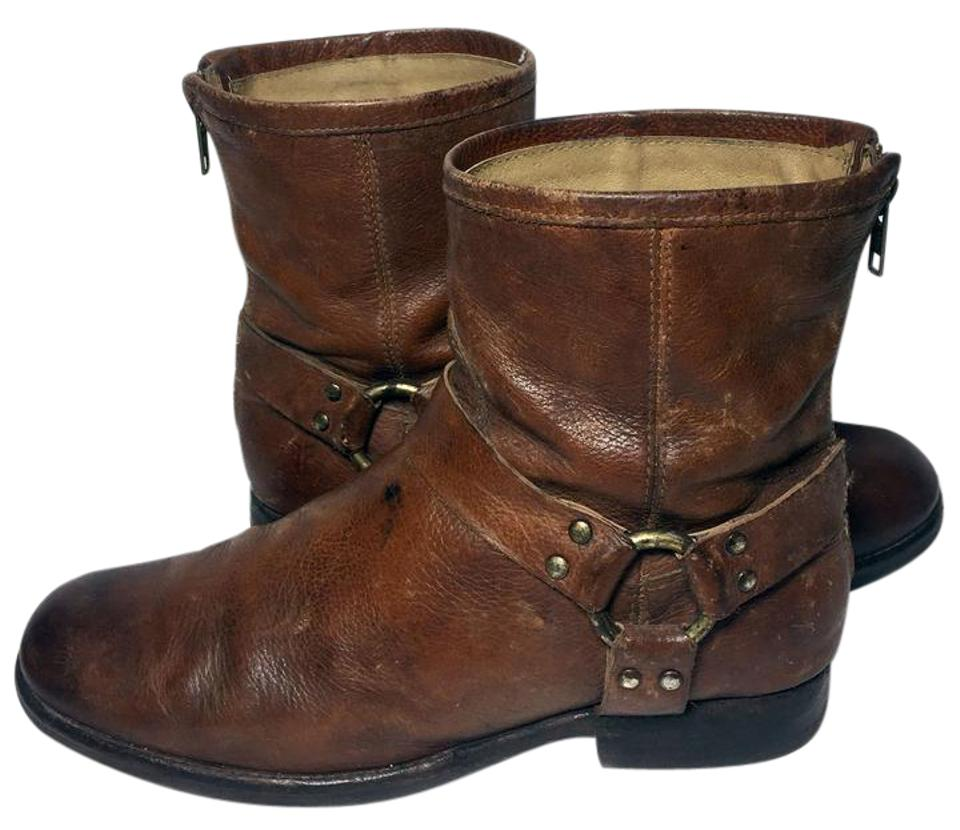 dd3044061ba4 Frye Brown 76871 Phillip Harness Leather Motorcycle Women s Boots Booties