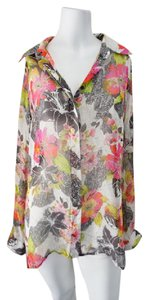 Marciano Silk Rose Pattern Floral Button Down Silk Top Multi-Colored