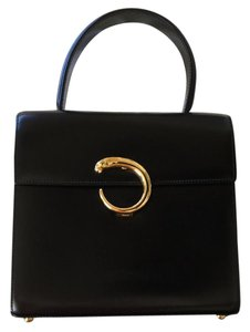 Cartier Vintage Leather Classic Handbag Satchel in Black