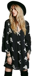 Free People short dress Black Flowy Embroidered Sundress Summer on Tradesy