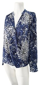 INC International Concepts Silk Floral Button Down Career Top Blue & White