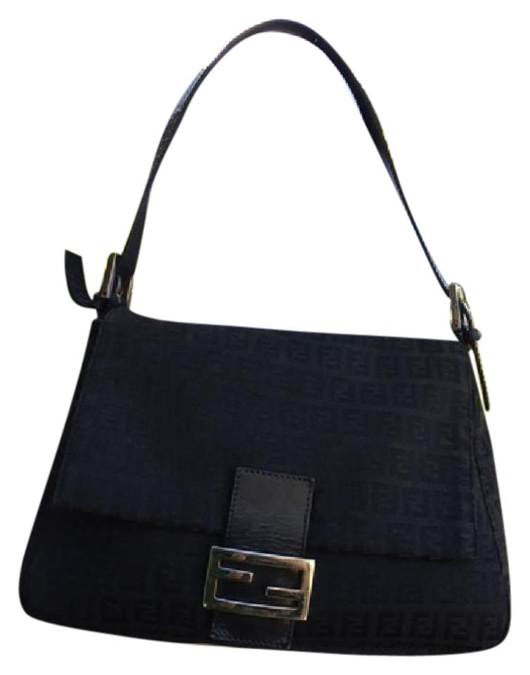 39336a16130d Fendi Black and Silver Zucca Canvas Leather Trim Shoulder Bag - Tradesy