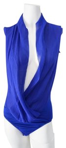 Guess By Marciano Silk Silk Bodysuit Super Sexy Scalloped Top Royal Blue