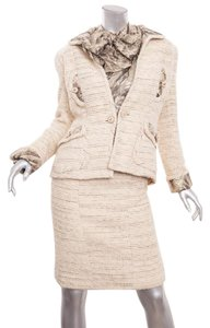 Chanel VINTAGE Cream Metallic Jacket Blazer Blouse Skirt Suit Outfit