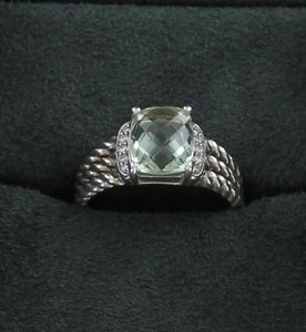 David Yurman DAVID YURMAN Silver Petite WHEATON Prasiolite RING Diamonds Size 7.75