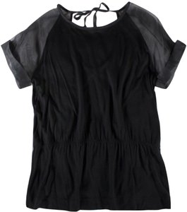 Fendi Neck Tie Sheer Top Black