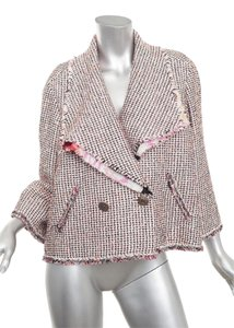 Chanel Tweed Blazer Classic Coat Coral/White Jacket