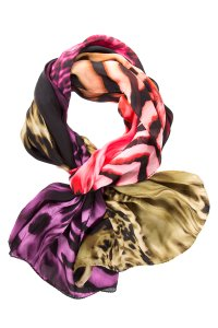 Escada Color-Blocked Animal Print Multi Scarf