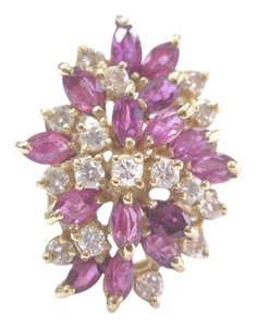 Other Fine Gem Ruby Diamond Yellow Gold Cluster Jewelry Ring 14KT 2.65Ct