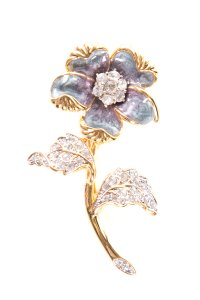 Nolan Miller Gold & Purple Tone Floral Brooch W/ Enamel Inlay