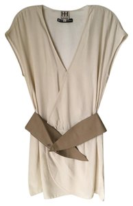 Haute Hippie short dress Cream Silk Belted Cap Sleeve New With Tags Bergdorf Goodman on Tradesy