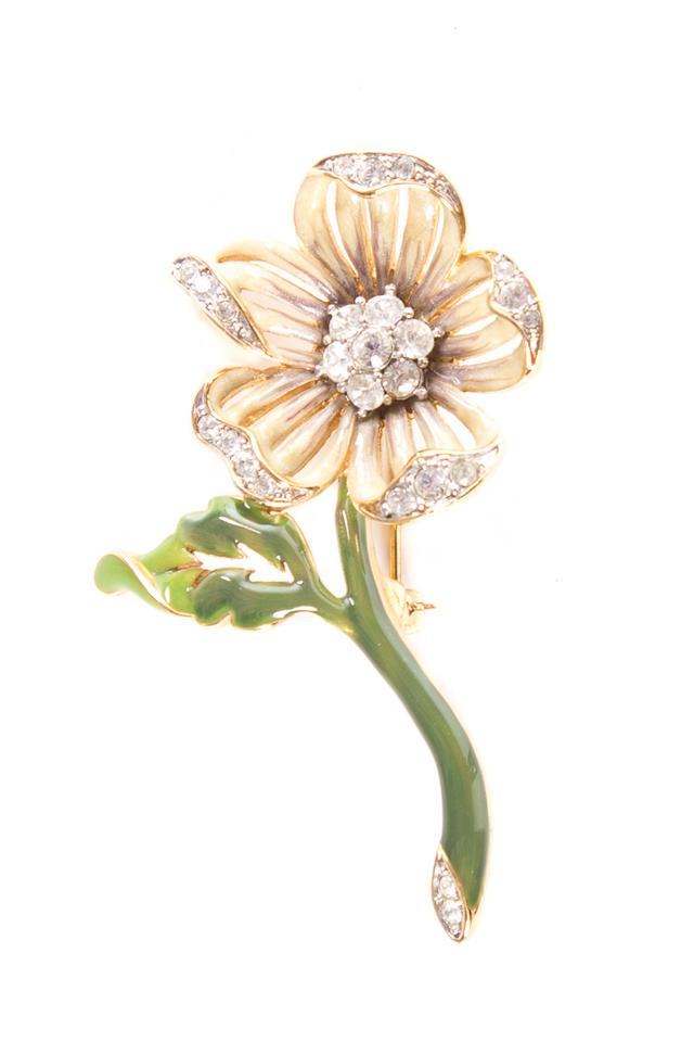 a22376179 Nolan Miller Gold and Green Toned Floral Brooch with Enamel Inlay ...