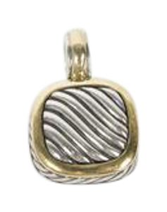 David Yurman Sterling and 18K Gold Square Pendant
