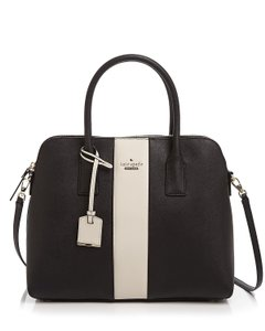 Kate Spade Cameron Street Racing Stripe Saffiano Leather / Margot Satchel in Black / Cream