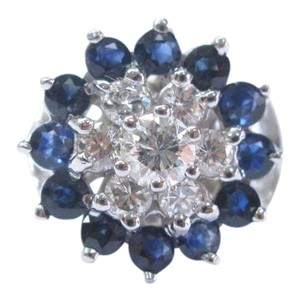 Other Fine Gem Sapphire Diamond White Gold Cluster Jewelry Ring 1.87Ct