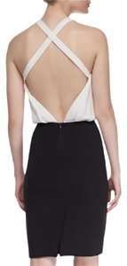L'AGENCE Halter Contrast Sleeveless Crepe Backless Dress
