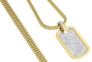 Other Diamond Mini Dog Tag Pendant Mens 10k Yellow Gold Charm W Franco Chain 1.10 Ct.