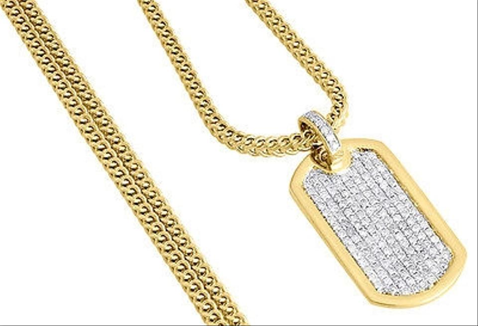Diamond mini dog tag pendant mens 10k yellow gold charm w franco other diamond mini dog tag pendant mens 10k yellow gold charm w franco chain 110 ct aloadofball Choice Image