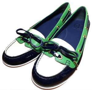 Tory Burch green and navy blue Flats