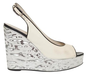 Chanel Platform Leather Silver Cream Wedges