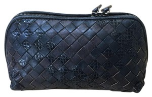 Bottega Veneta Makeup Cosmetic Black & Brown Clutch
