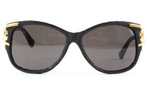 Linda Farrow Luxe Linda Farrow black embossed leather square frame sunglasses