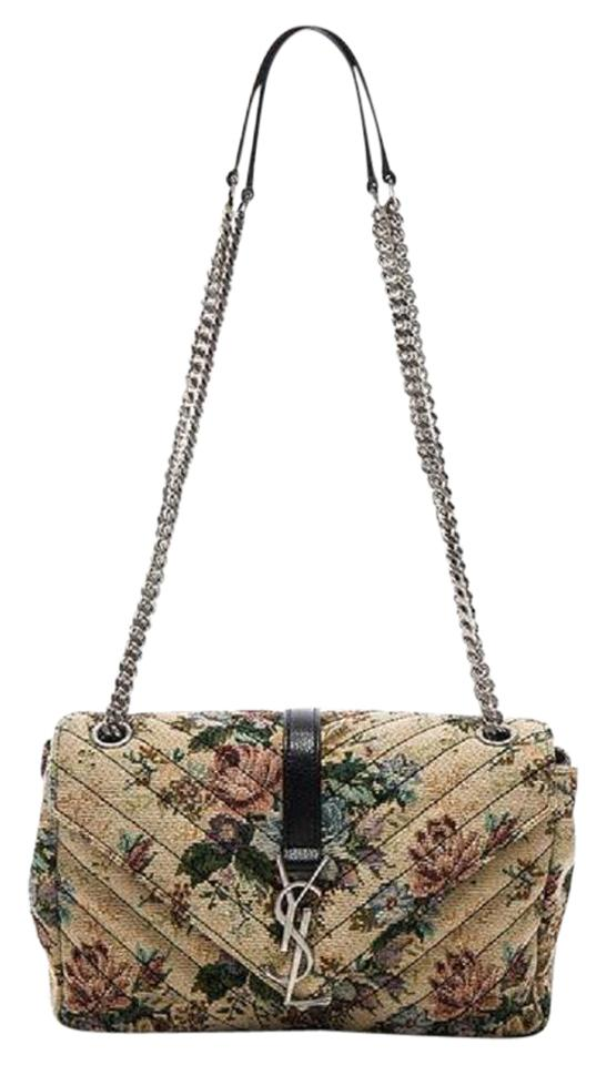 Saint Laurent Collège New Ysl Medium Floral Monogramme Chain Multicolor  Tapestry Cross Body Bag 7641bd4e41795