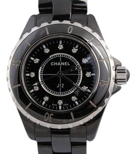 Chanel Black Ceramic Diamond J12 Watch