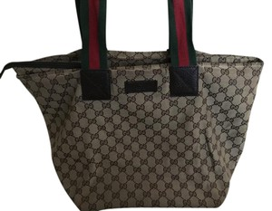 Gucci Gg Monogram Handbag Tote in Brown with Red/Green Straps