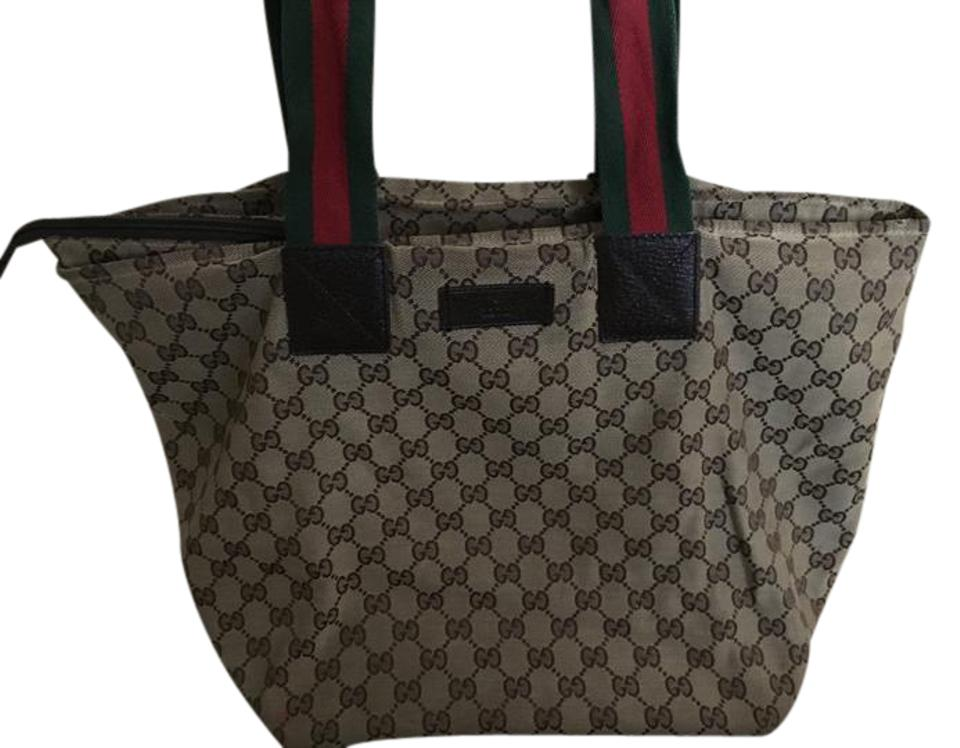 931d8dbbe2 Gucci Fabric Monogram Handbag Brown with Red/Green Straps Canvas Gg Leather  Sole and Leather Tote