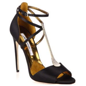 Brian Atwood Avice Embellished T-strap Black Sandals