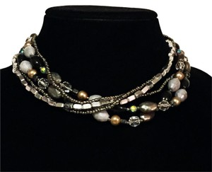 Cookie Lee multi strand beaded choker collar necklace vintage retired