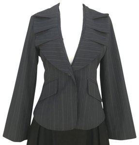 BCBGMAXAZRIA Business Sophisticated Chic Black Pinstripe Blazer