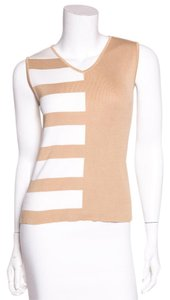 Chanel Top Tan & White