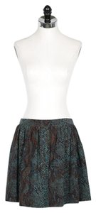 Rebecca Taylor Silk Mini Skirt Teal and Blue