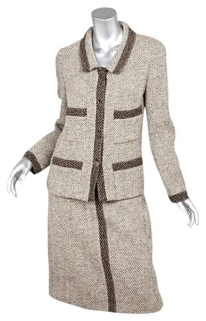 Item - Brown '98 Womens Classic Tweed Jacket Blazer+pencil Skirt Suit Size 10 (M)